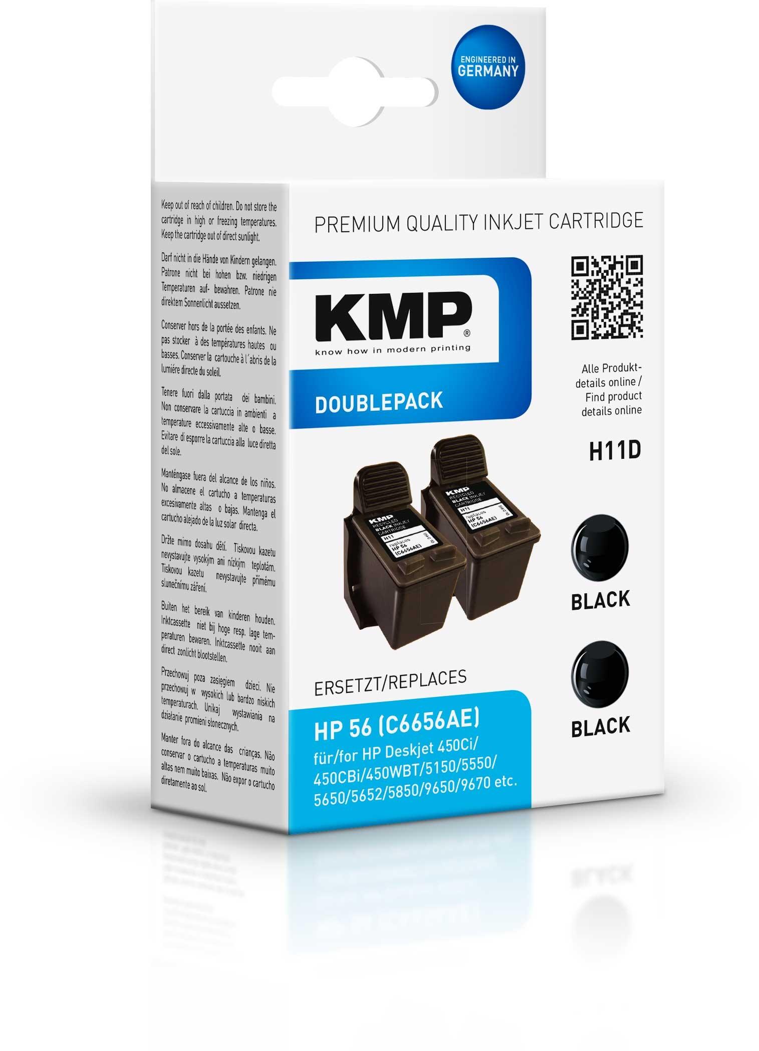KMP Doppelpack H11D komp. zu HP 56 C6656AE DeskJet 5550 5850 bla