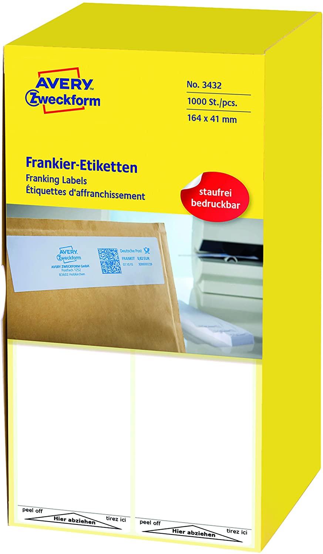 AVERY Zweckform 3434 Frankier-Etiketten (Papier matt, 1.000 Etiketten, 128 x 38 mm) 1 Pack weiß