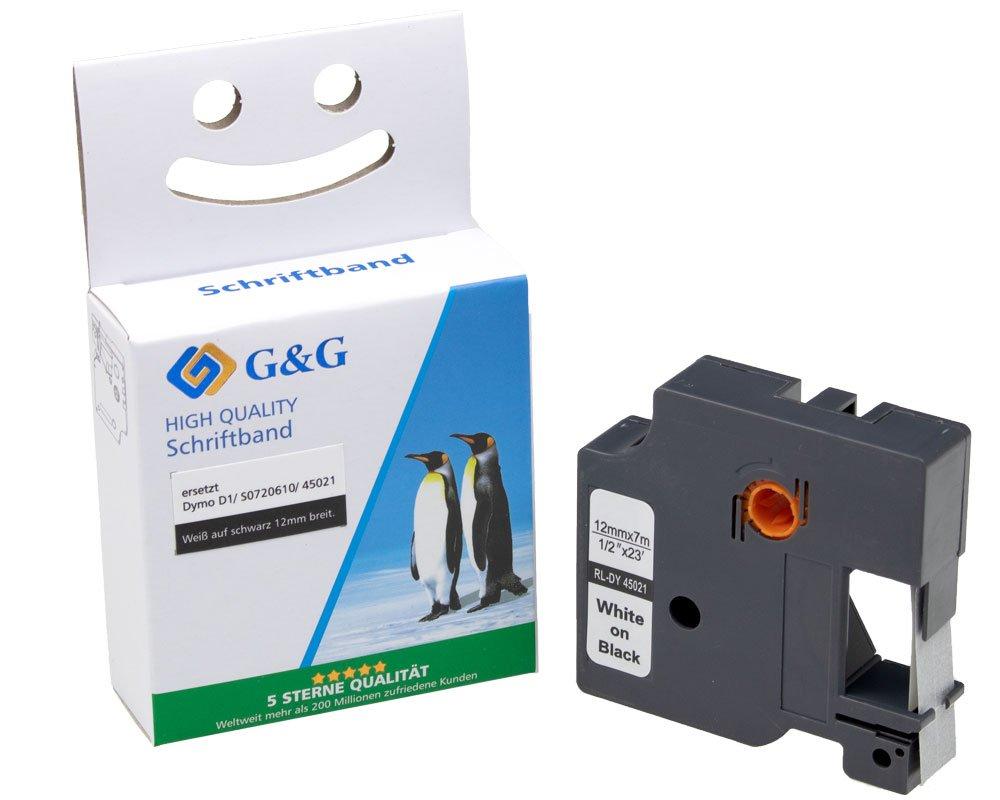 G&G Schriftband kompatibel zu Dymo D1/ 45021/ S0720610 (12mm x 7m) weiß auf schwarz