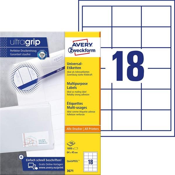 AVERY Zweckform 3671 Adressaufkleber (1.800 Klebeetiketten, 64x45mm auf A4, Papier matt, individuell