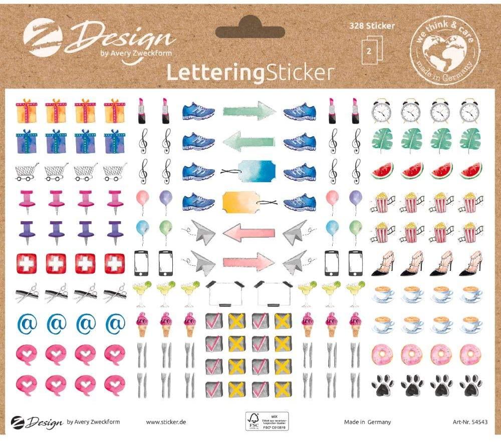 AVERY Zweckform 54543 Dekosticker 328 Aufkleber Icons Zeichen Symbole (Sticker auf A5 Bogen, für Bul