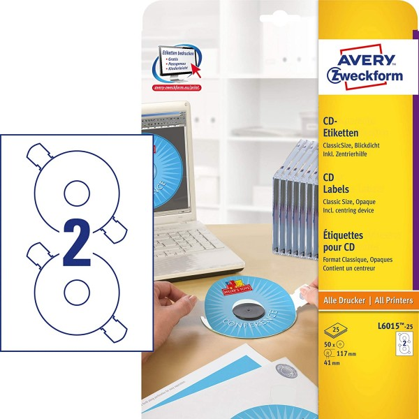 AVERY Zweckform L6015-25 selbstklebende CD-Etiketten inkl. Zentrierhilfe (50 blickdichte CD-Aufklebe