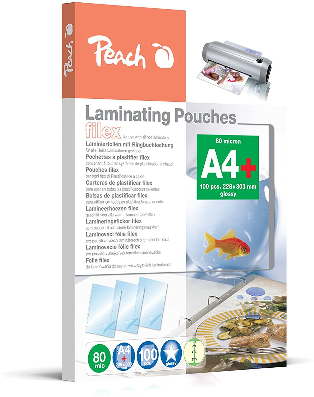 Peach S-PP580-21 Laminierfolien A4, 80 mic, glänzend, abheftbar, 100 Stück & PP580-02 Laminierfolien