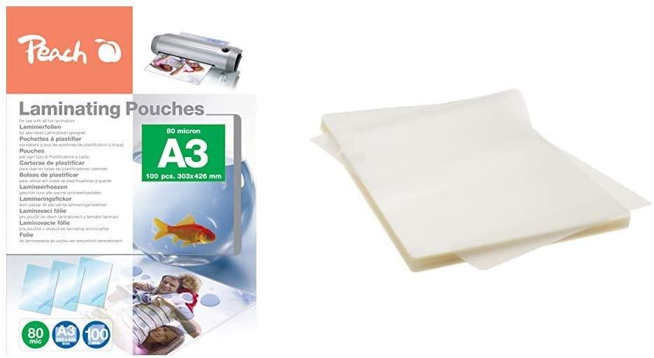 Peach PP580-01 Laminierfolien A3, 80 mic, 100 Stück & AmazonBasics Thermal Laminating Pouches, A4, 1