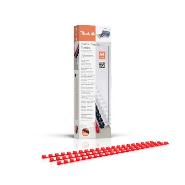 Peach PB406-03 Plastikbinderücken DIN A4, 6 mm, 25 Blatt, 100 Stück, rot