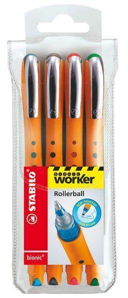 Stabilo® Tintenroller worker® fine, 0,3 mm, Etui mit vier Farben