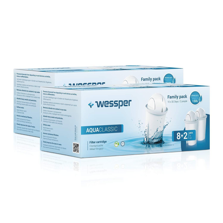 Wessper 20er Pack AquaClassic Wasserfilter Kartuschen komp. mit BRITA Classic,DAFI Classic, Glas-Was