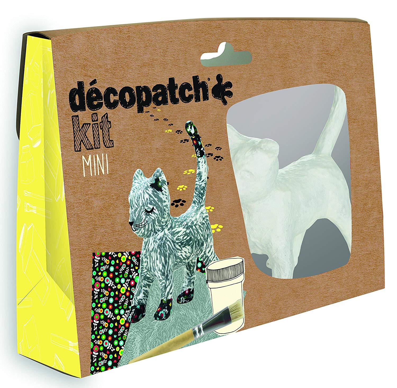 Décopatch Bastel Set Pappmaché Mini Katze (ideal für Kinder, 19 x 13,5 x 3,5 cm) grau, bunt