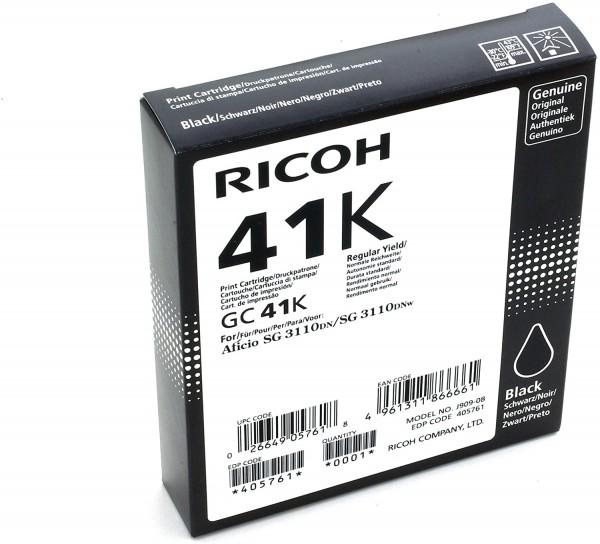 Ricoh 405761 SG3110DN Inkjet Cartridge, 2500 Seiten / 5% Deckung GC41K, schwarz