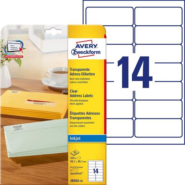 AVERY Zweckform J8563-25 Adressetiketten/Adressaufkleber (350 Etiketten, 99,1x38,1mm auf A4, bedruck