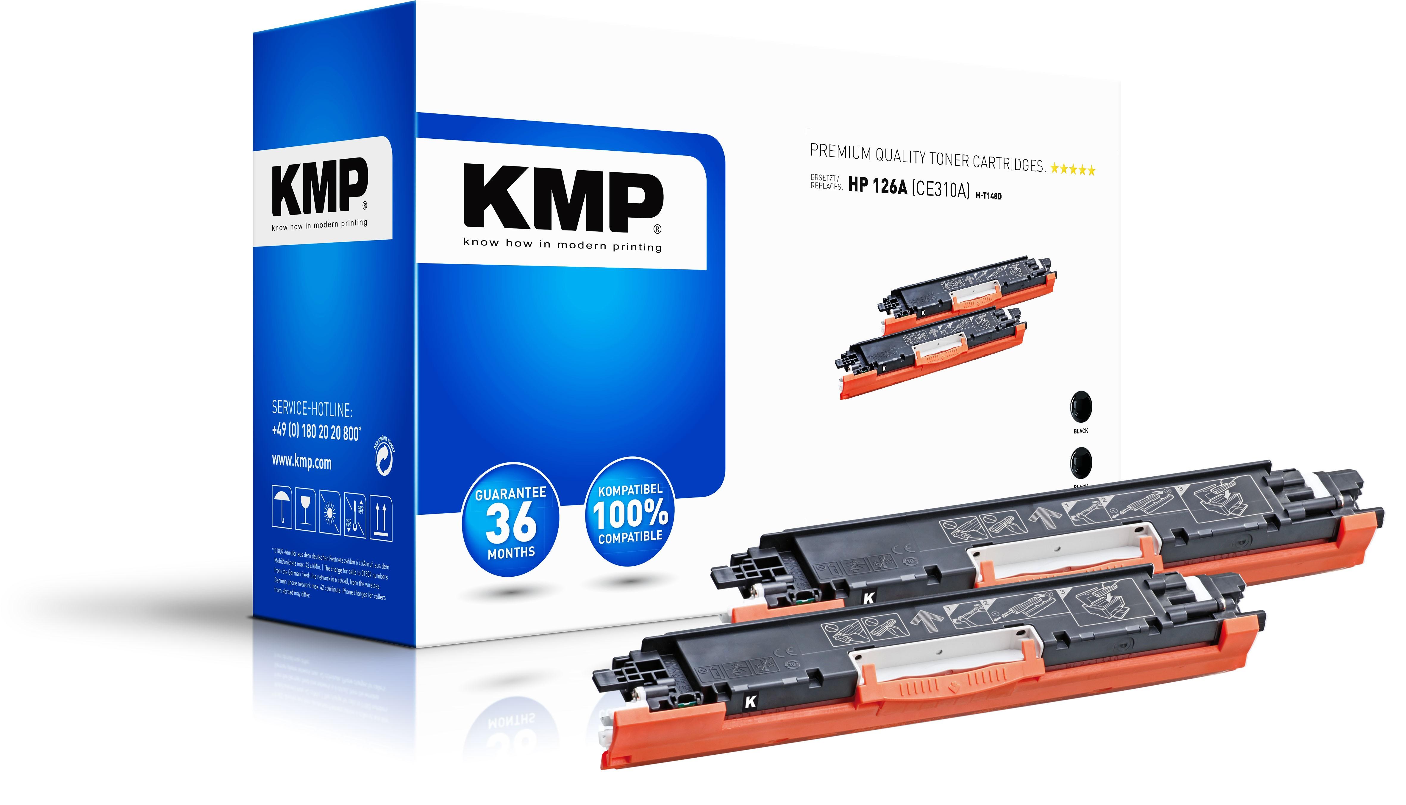 KMP DoppelpackToner H-T148D für HP 126A (CE310A) LaserJet Pro CP1025 etc. schwarz