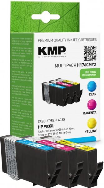 KMP Multipack H176CMYX cyan, magenta, gelb Tintenpatronen ersetzen HP OfficeJet HP 903XL (T6M03AE, T