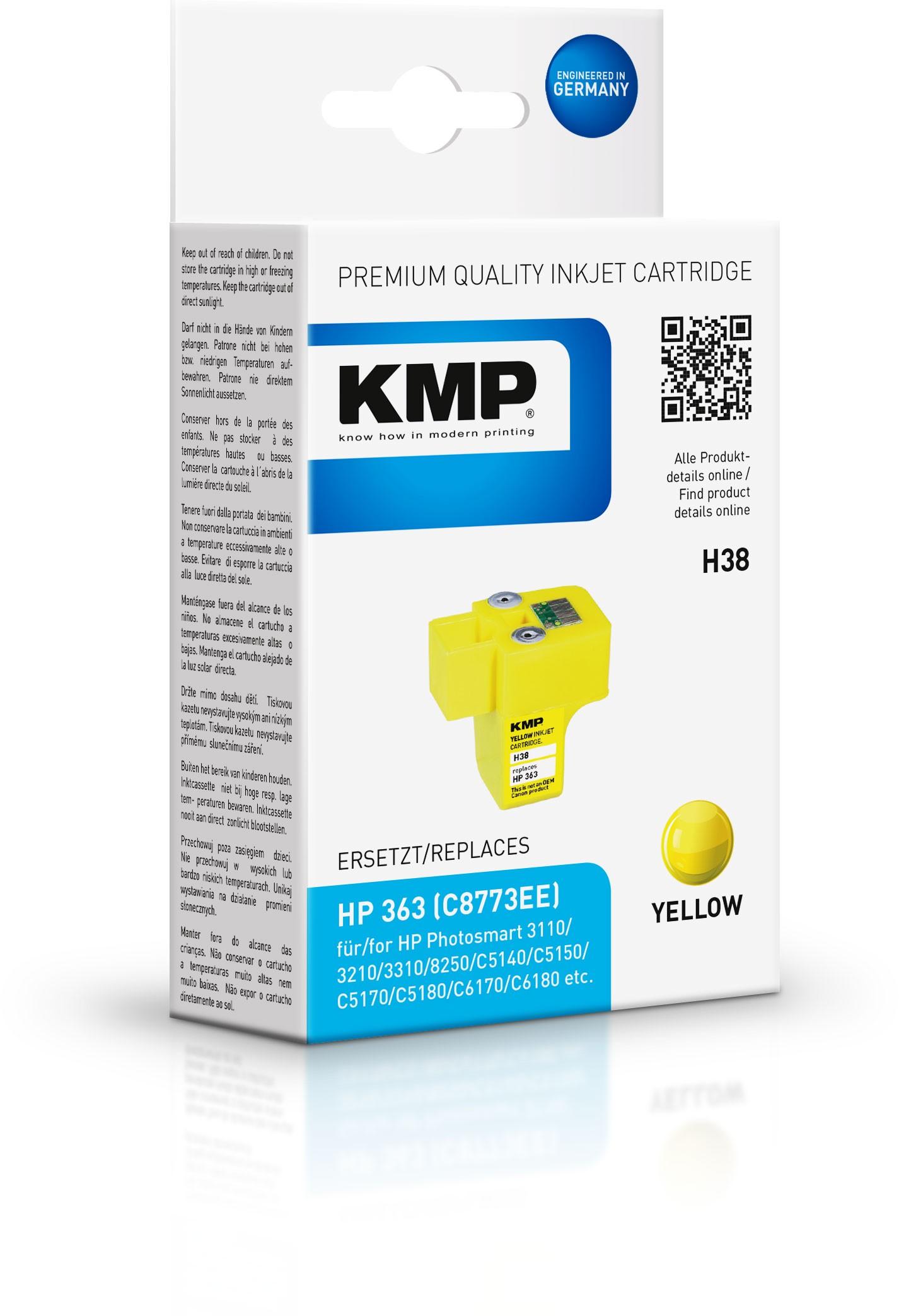 Vorschau: KMP Patrone H38 komp. C8773EE HP363 für HP Photosmart 8250 yello