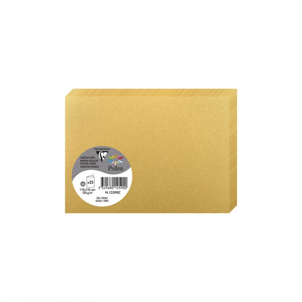 Doppelkarte C6 12590C Clairfontaine Rhodia 25 x 210g Gold - (110 x 155)