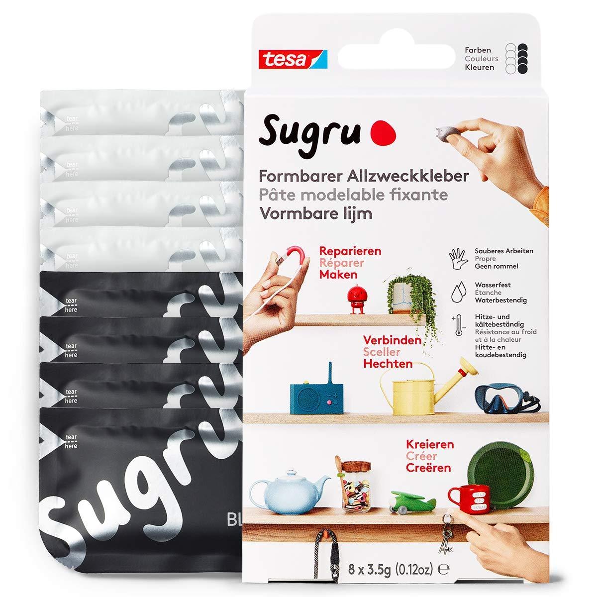 Sugru by tesa® - Formbarer Allzweckkleber, starker Allzweck-Klebstoff, 8er-Pack (8 x 3,5 g) in Schwa