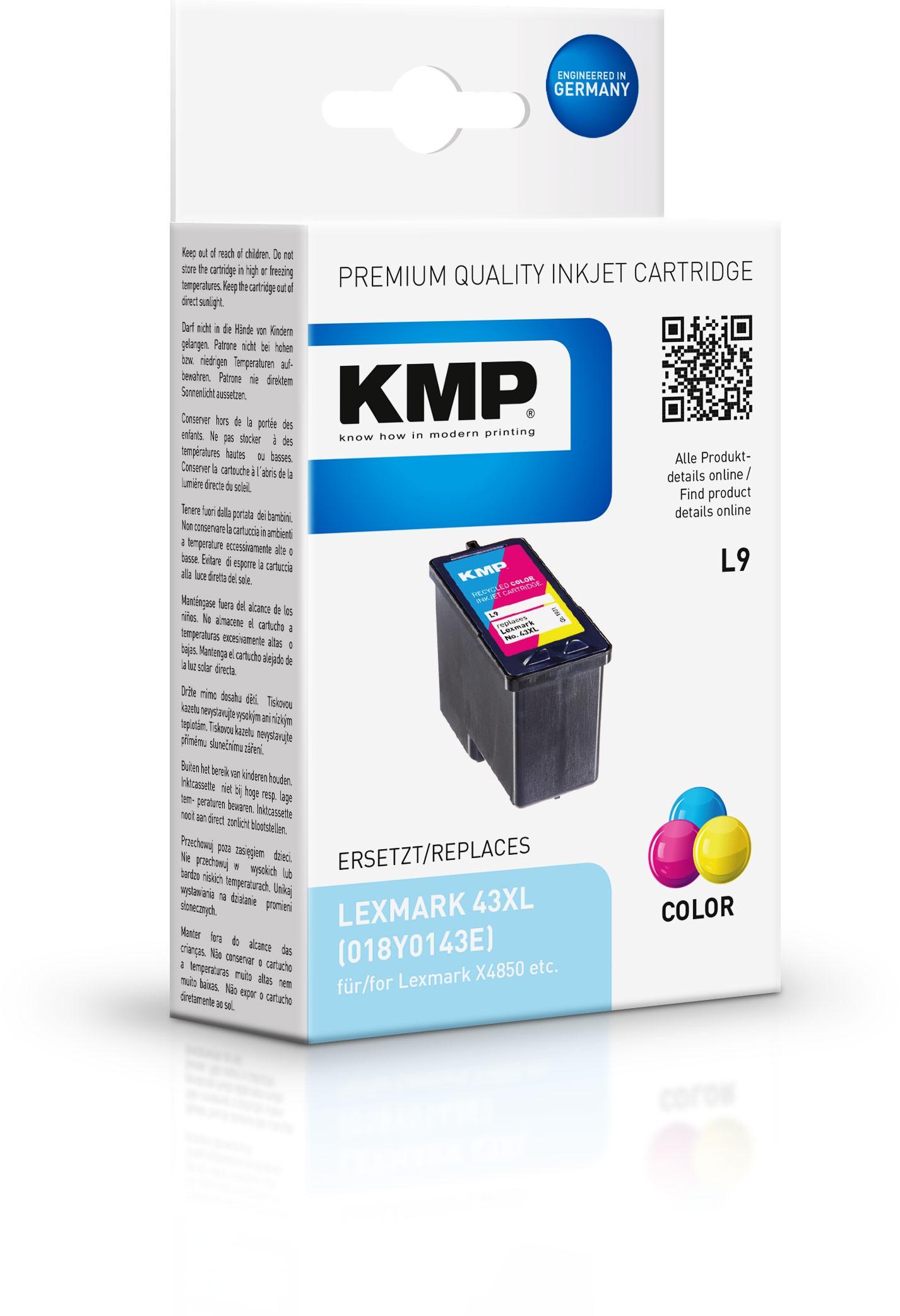 KMP Patrone L9 für Lexmark 018Y0143E / Nr.43 XL X9350 color