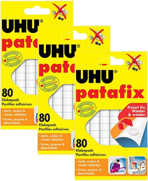 3x UHU Patafix Klebepads (weiß - 240 Stück)