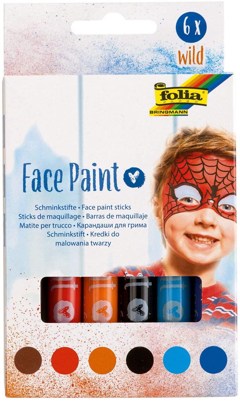 folia 380602 - Face Paint Schminkstifte Wild, 6 farbig sortierte Stifte für Kinder, dermatologisch g