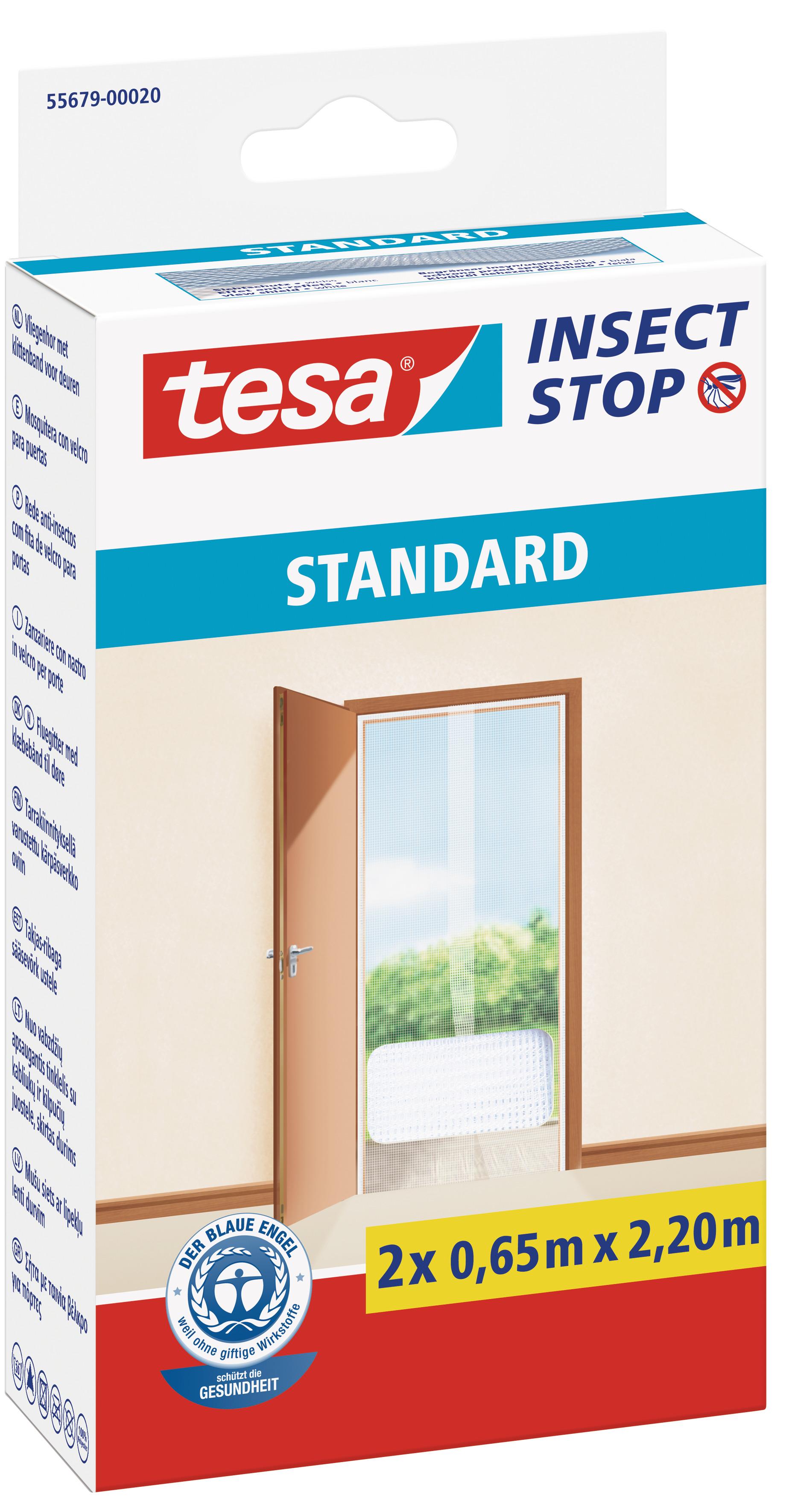 tesa Fliegengitter Standard Klettband für Tür 2 x 0,65 m : 2,2 m, weiß