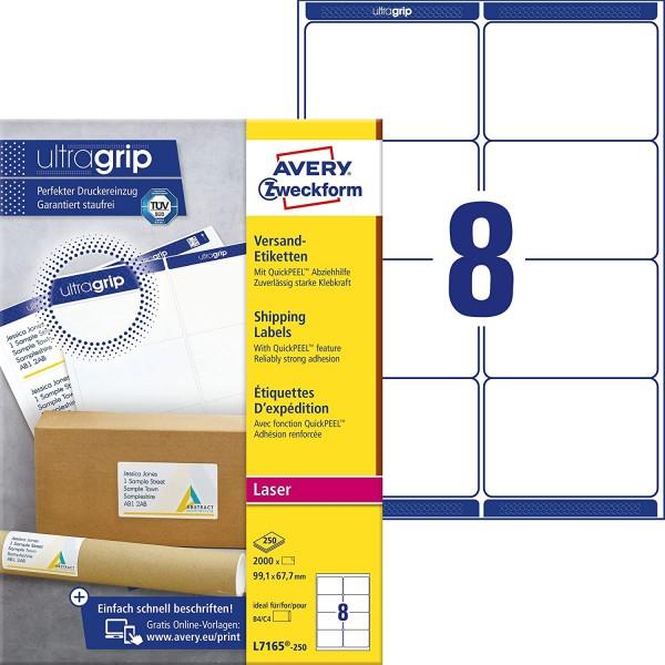 AVERY Zweckform L7165-250 Versandetiketten/Versandaufkleber (2.000 Etiketten mit ultragrip, 99,1x67,