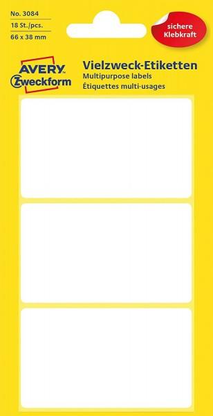 Avery Zweckform 3084 Haushaltsetiketten selbstklebend (66 x 38 mm, 18 Aufkleber auf 6 Bogen, Vielzwe
