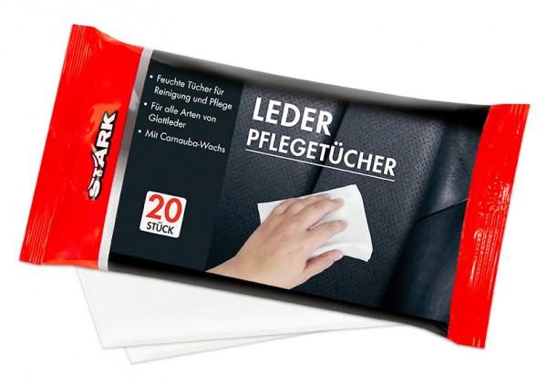 STARK 40077 Leder-Pflegetücher feuchte Tücher für Reinigung und Pflege - 20 Stück