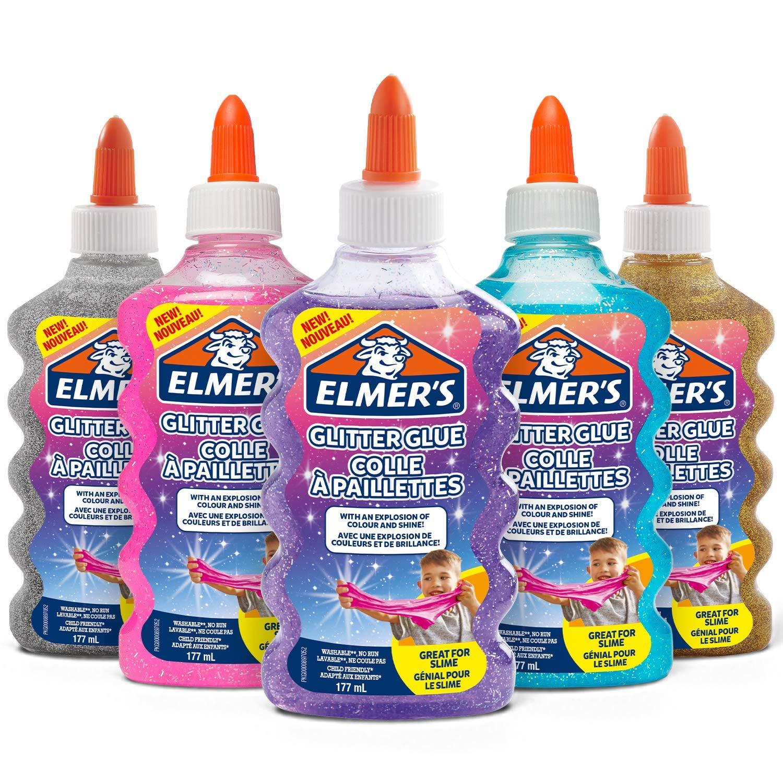 Elmer's Glitzerkleber, blau, lila, silber, gold, pink, auswaschbar & Kinderfreundlich, 5 x 177 ml