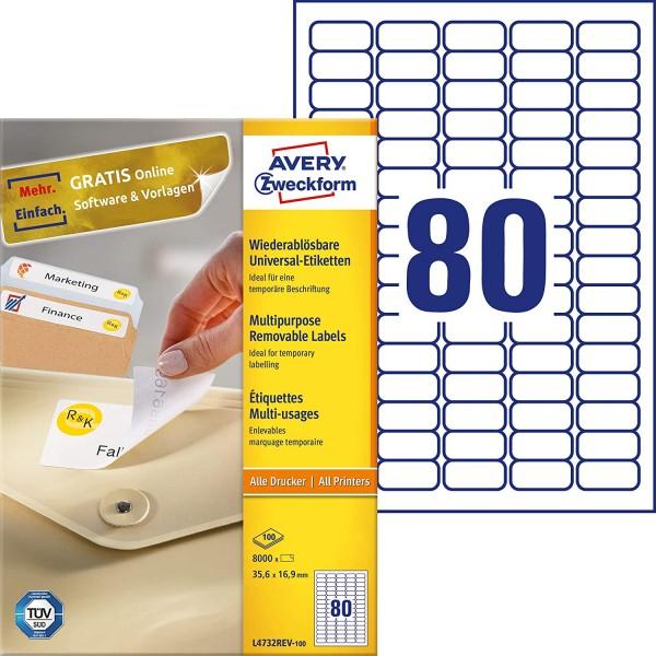 AVERY Zweckform L4732REV-100 Universal Etiketten (8.000 Klebeetiketten, 35,6x16,9mm auf A4, wieder r