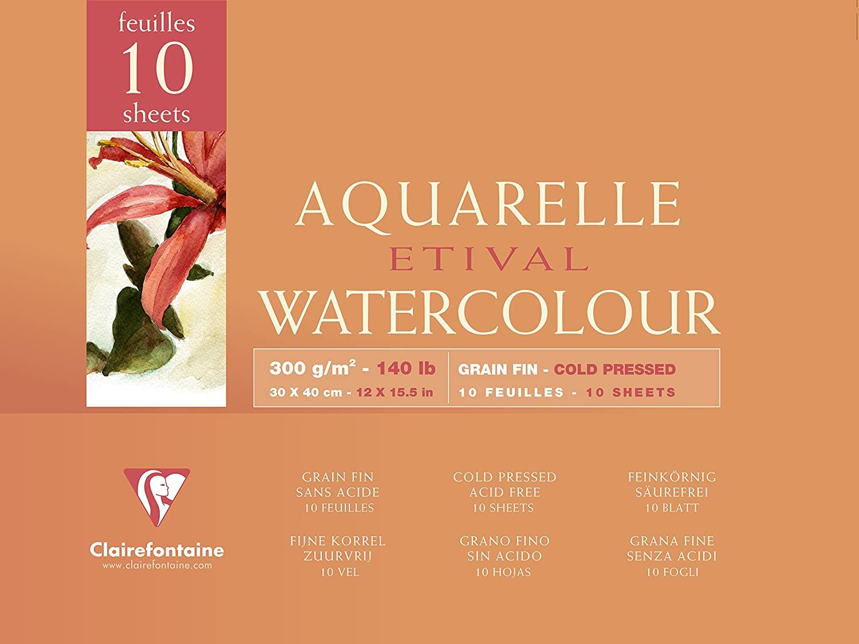 Clairefontaine 96572C Aquarellblock Etival (4-seitig verleimt, 10 Blatt, 300g, für alle Nasstechnike