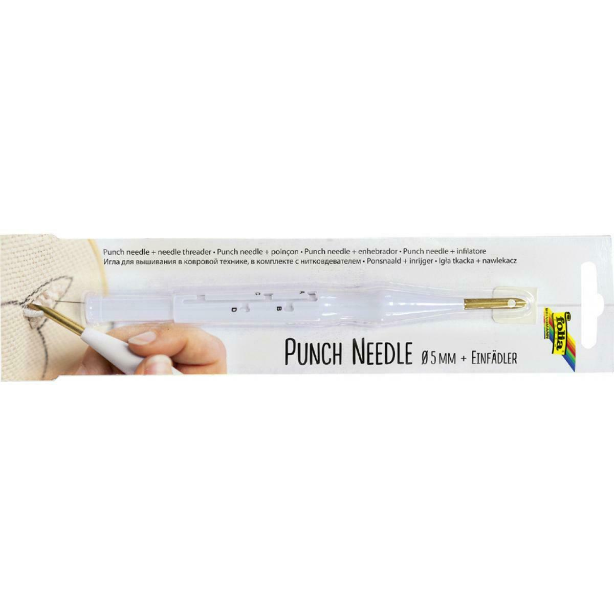 folia Punch Needle incl. Einfädler Punchnadel inkl. Einfädelhilfe, verstellbar 23410