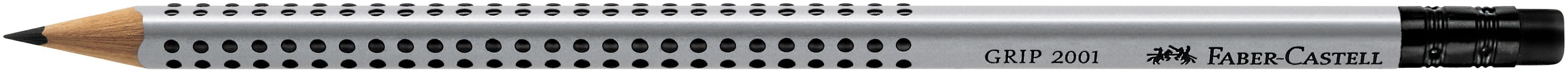 Vorschau: Faber-Castell Bleistift GRIP 2001 - HB, mit Radierer, silbergrau