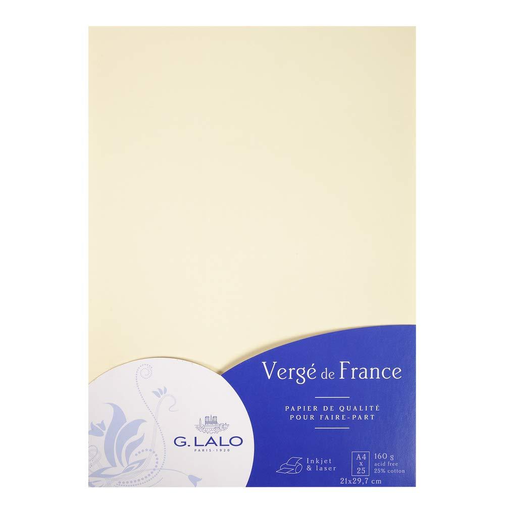 G. LALO Briefpapier fein gerippt 160g, DIN A4, 21 x 29,7 cm, 25 Blatt, elfenbein