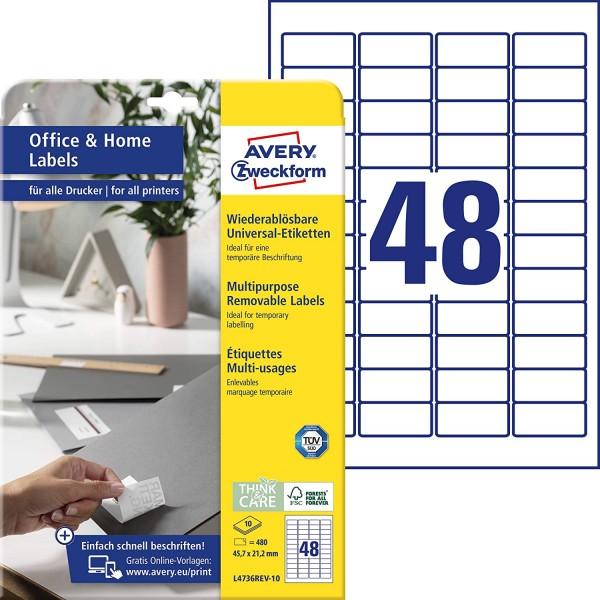 AVERY Zweckform L4736REV-10 Universal Etiketten (480 Klebeetiketten, 45,7x21,2 mm auf A4, wieder rüc
