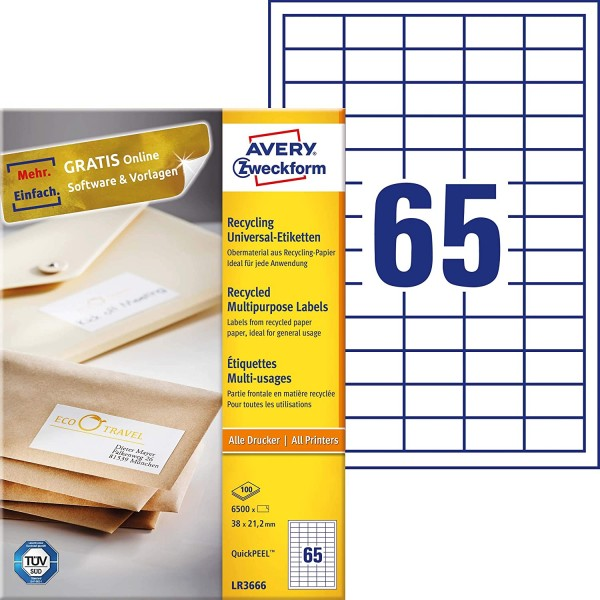 AVERY Zweckform LR3666 Recycling Etiketten (6.500 Klebeetiketten, 38x21,2mm auf A4, 100% recyceltes