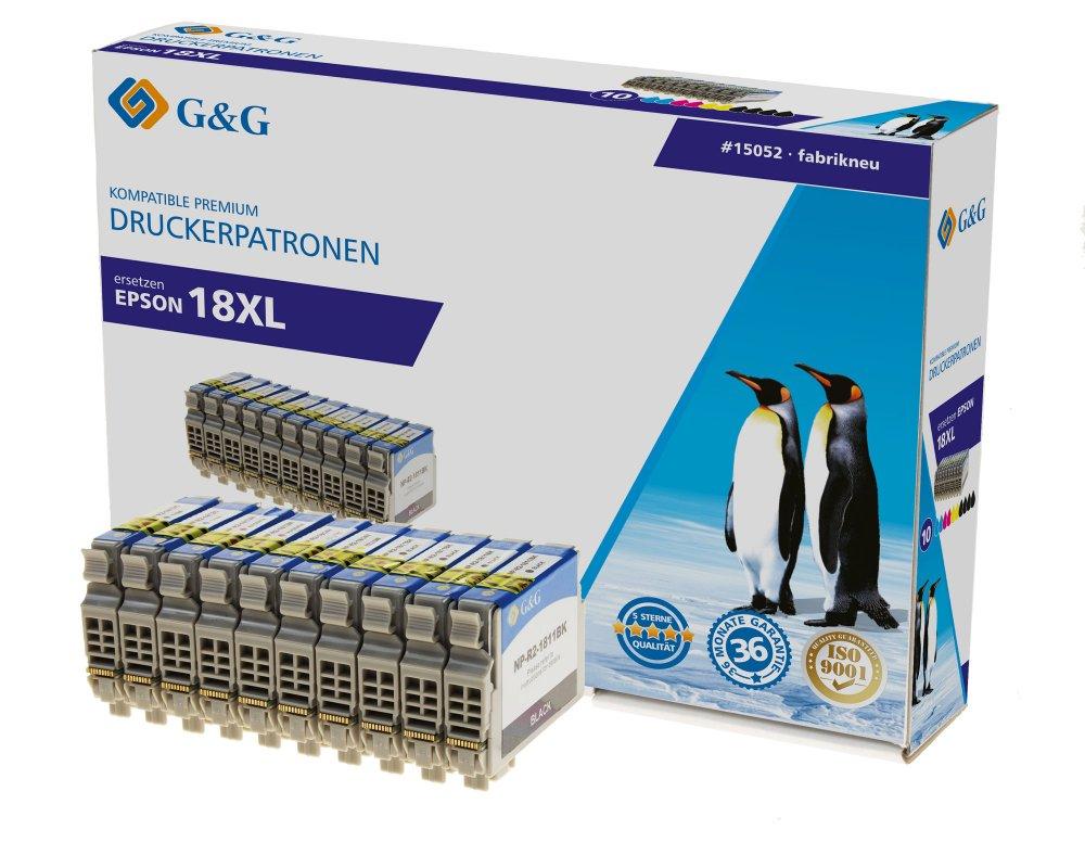 G&G Tinte ersetzt Epson 18XL, T1811, T1812, T1813, T1814, T1816 Kompatibel 10er-Pack Schwarz, Cyan,