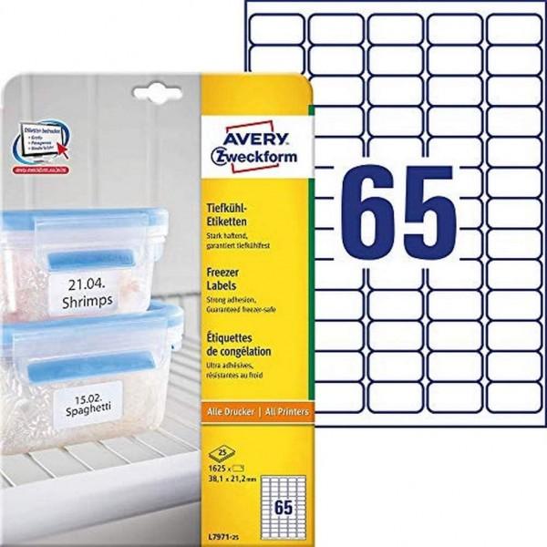 AVERY Zweckform L7971-25 Tiefkühl-Etiketten (38,1x21,2 mm auf DIN A4, selbstklebend, temperaturbestä