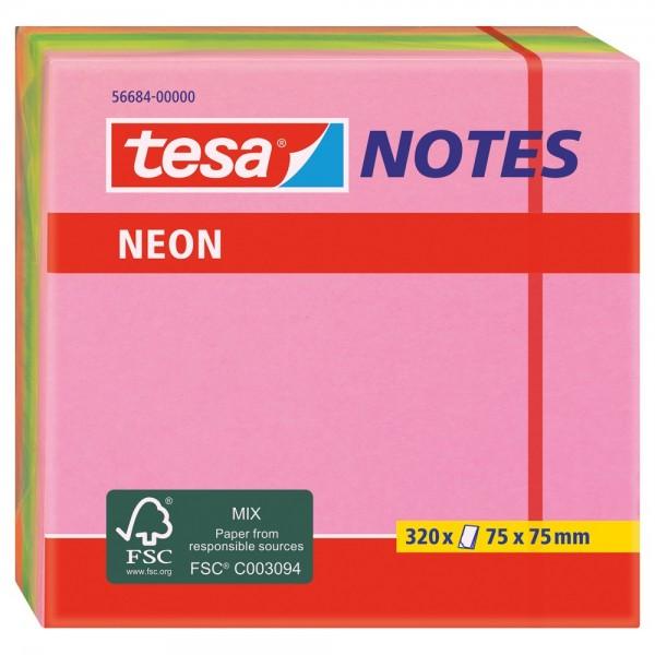 tesa Notes Haftnotizen, 320 Blatt, grün/gelb/pink/orange, 7,5cm x 7,5cm
