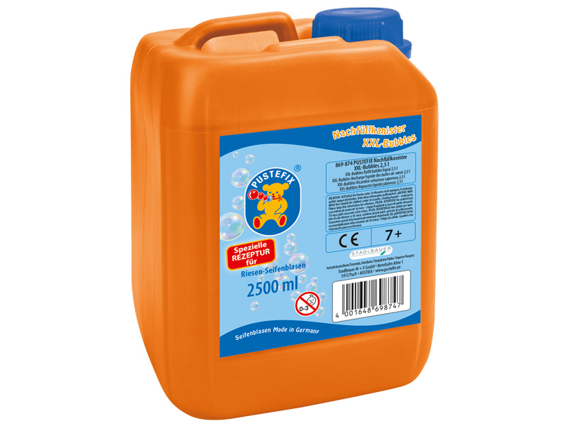 Pustefix – Nachfüllkanister für XXL Blasen – 2,5 L Seifenblasenflüssigkeit – Seifenblasen – XXL-Bubb