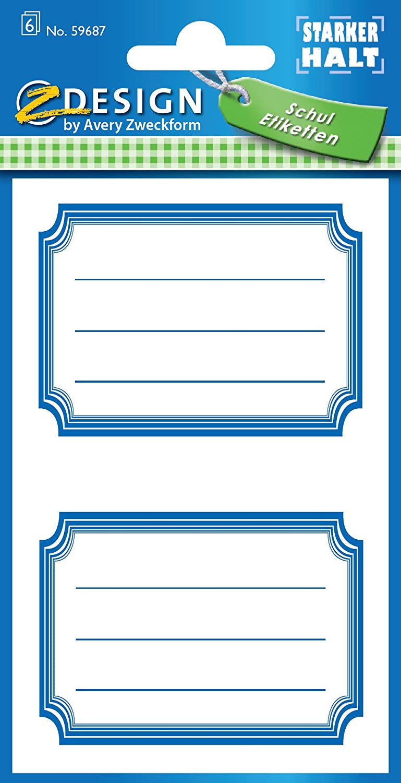 AVERY Zweckform 59687 Schuletiketten 12 Stück(Papier-Aufkleber für Mädchen und Jungen, blauer Rand,