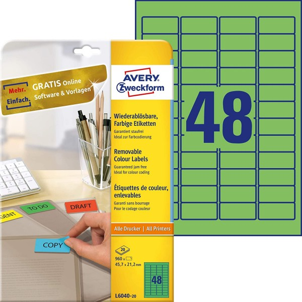 AVERY Zweckform L6040-20 Grüne Etiketten (960 Aufkleber, 45,7x21,2mm auf A4, wieder rückstandsfrei a