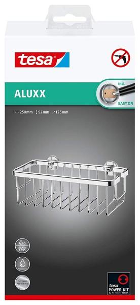 Tesa Aluxx Duschkorb Gr. M (NICHT BOHREN, Aluminium, verchromt, rostfrei, inkl. Klebelösung, tiefer