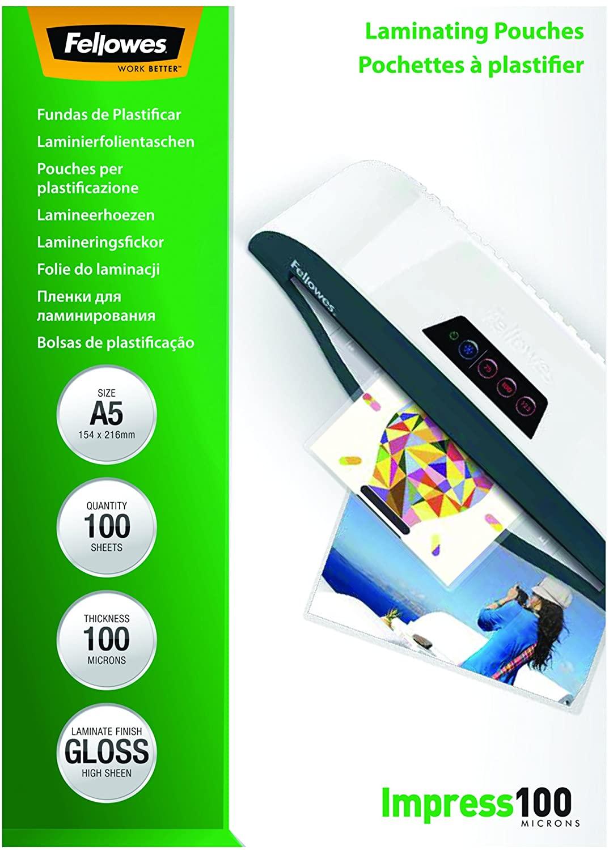 Vorschau: Fellowes 53510 Laminierfolien Impress 100 Mikron, DIN A5 (100er Pack)