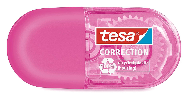 tesa Roller Korrigieren ecoLogo, Mini Roller pink 6m x 5mm
