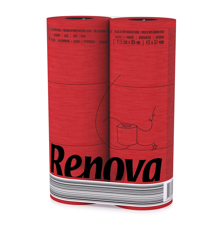 RENOVA Rotes Toilettenpapier - ROT in Folie 6 Rollen