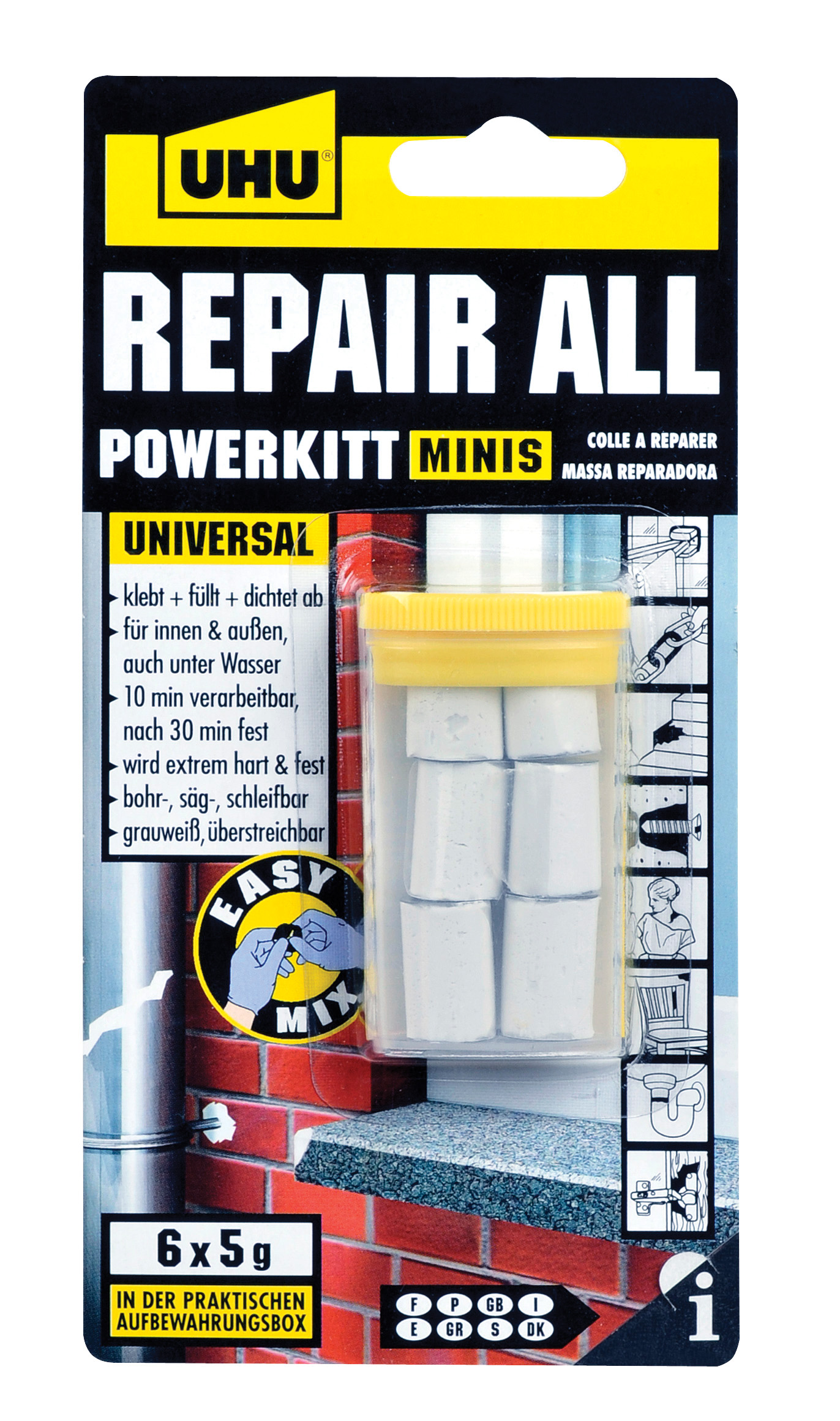 UHU Repair all powerkit universelle Klebstoffknetmasse Minis 6x5g, in der praktischen Box, Infokarte