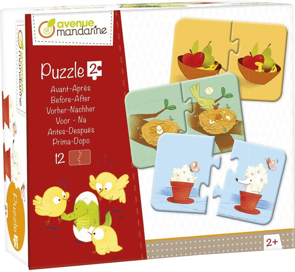 Avenue Mandarine JE514C 12 Puzzle Vorher/Nachher (2-teilig, ab 2 Jahren, 13,5 x 5 x 12 cm, mit Magne
