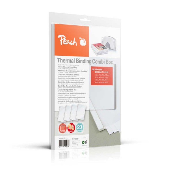 Peach PBT100-14 Combi Box für 20 Thermobindemappen, 15-60 Blatt, A4, weiß