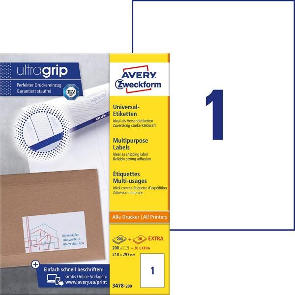 AVERY Zweckform 3478-200 Universal Etiketten (200 plus 20 Klebeetiketten extra, 210x297mm auf A4, be