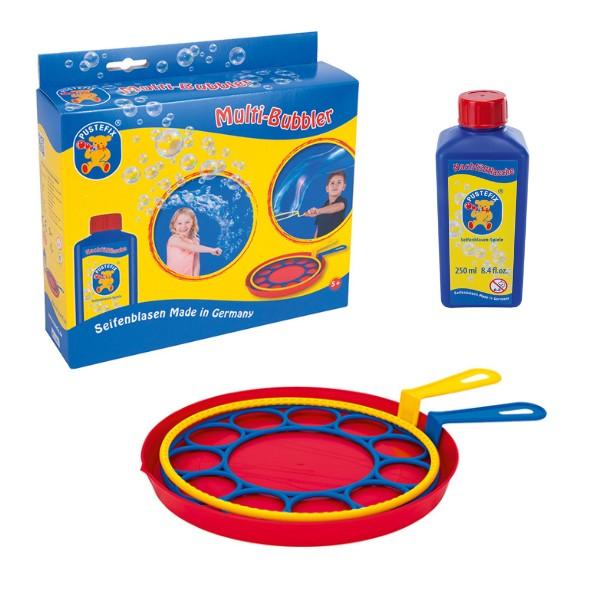 Pustefix – Multi-Bubbler + 250 ml Seifenblasenflüssigkeit - Seifenblasen – 2 verschiedene Ringe – Bu