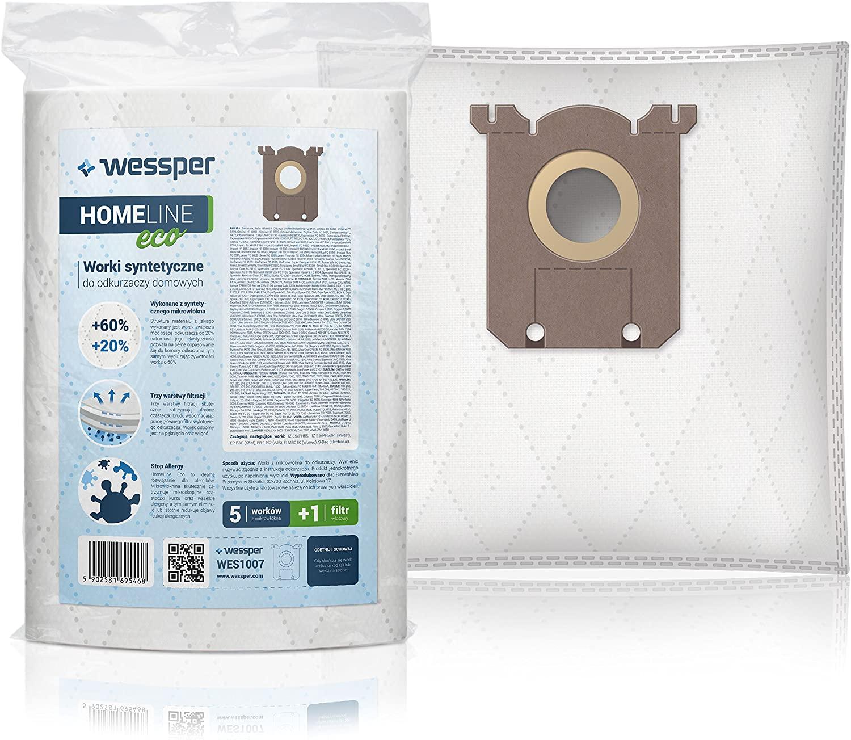WESSPER Staubsaugerbeutel HOMEline S-Bag + Anti-Allergen-Filter für Staubsauger AEG Airmax,ErgoSpace